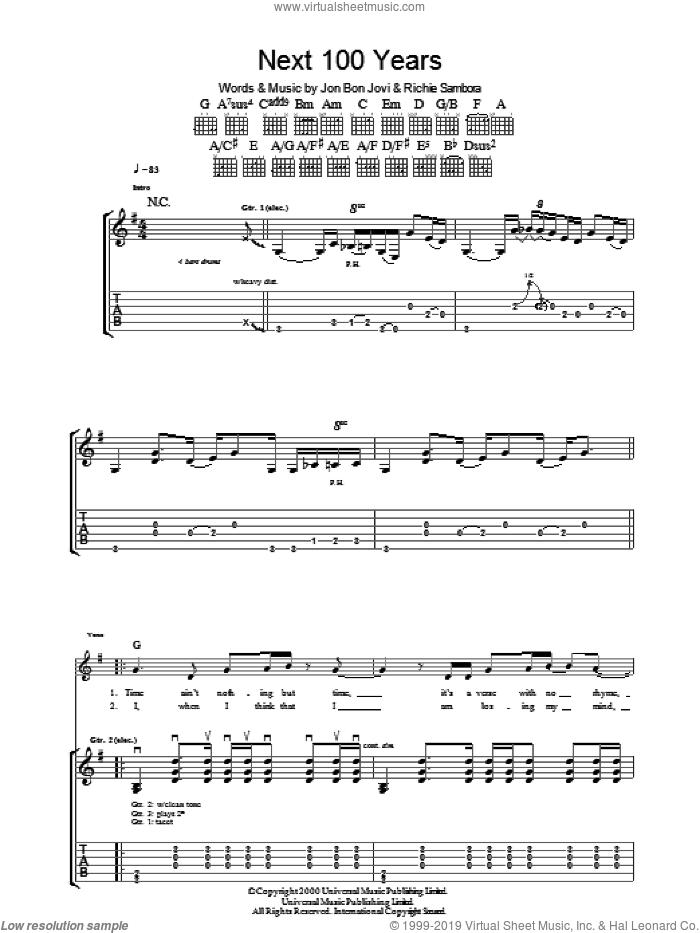 Next 100 Years sheet music for guitar (tablature) by Bon Jovi and Richie Sambora, intermediate skill level