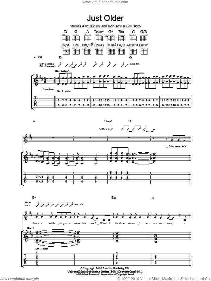 Just Older sheet music for guitar (tablature) by Bon Jovi and Billy Falcon, intermediate skill level