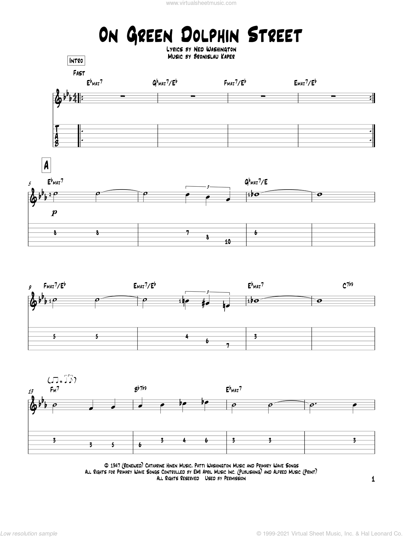 On Green Dolphin Street sheet music for guitar solo by Ned Washington, Miles Davis and Bronislau Kaper. Score Image Preview.
