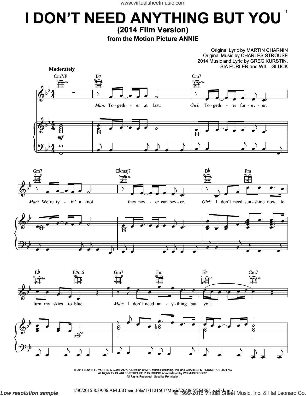 I Don't Need Anything But You (2014 Film Version) sheet music for voice, piano or guitar by Sia Furler, Charles Strouse, Christoph Willibald Gluck, Greg Kurstin and Martin Charnin. Score Image Preview.