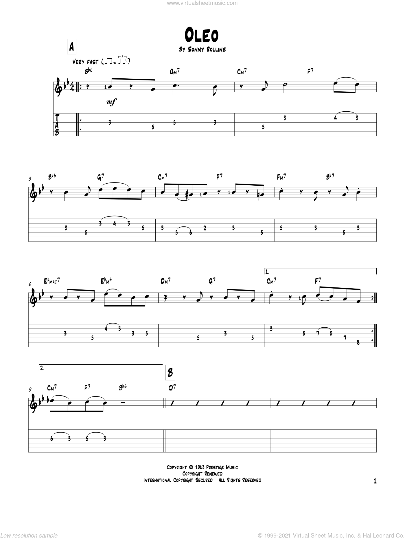Oleo sheet music for guitar solo by Sonny Rollins and John Coltrane. Score Image Preview.