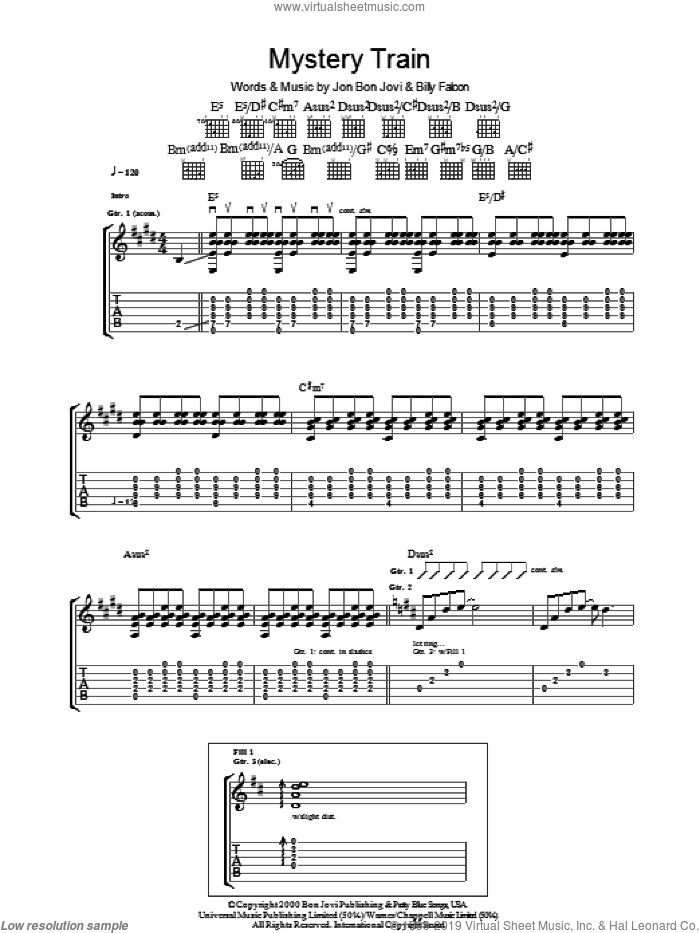 Mystery Train sheet music for guitar (tablature) by Bon Jovi and Billy Falcon, intermediate skill level