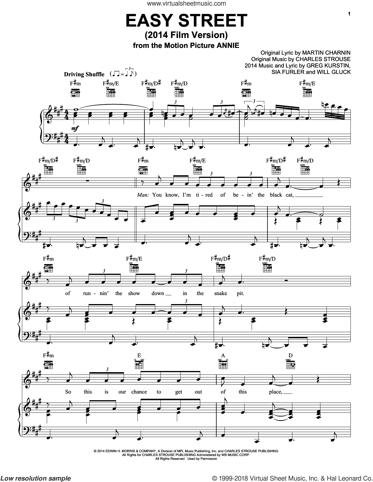 Easy Street (2014 Film Version) sheet music for voice, piano or guitar by Christoph Willibald Gluck, Charles Strouse, Greg Kurstin, Martin Charnin and Sia Furler. Score Image Preview.