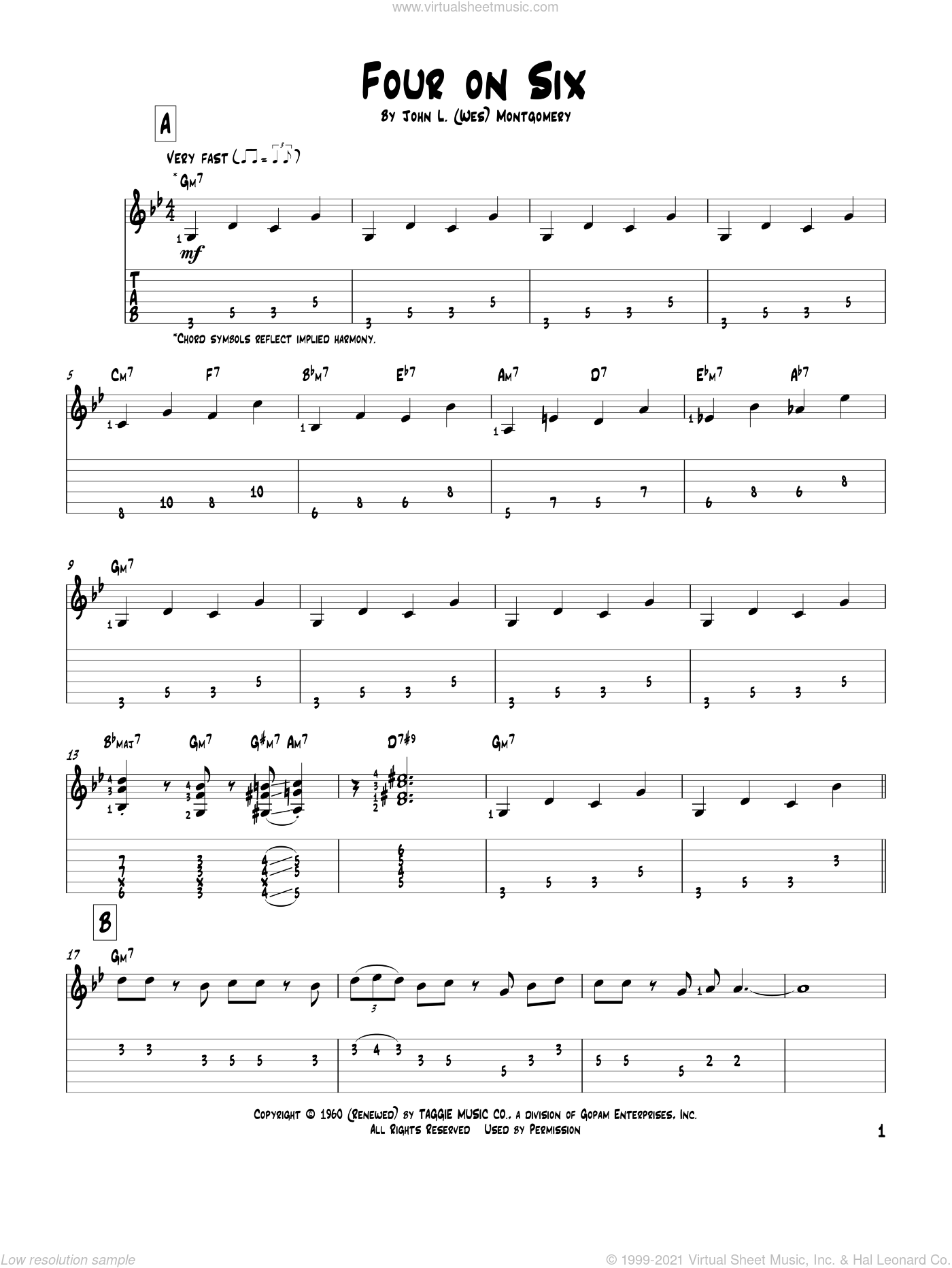 Four On Six sheet music for guitar solo by Wes Montgomery, intermediate. Score Image Preview.