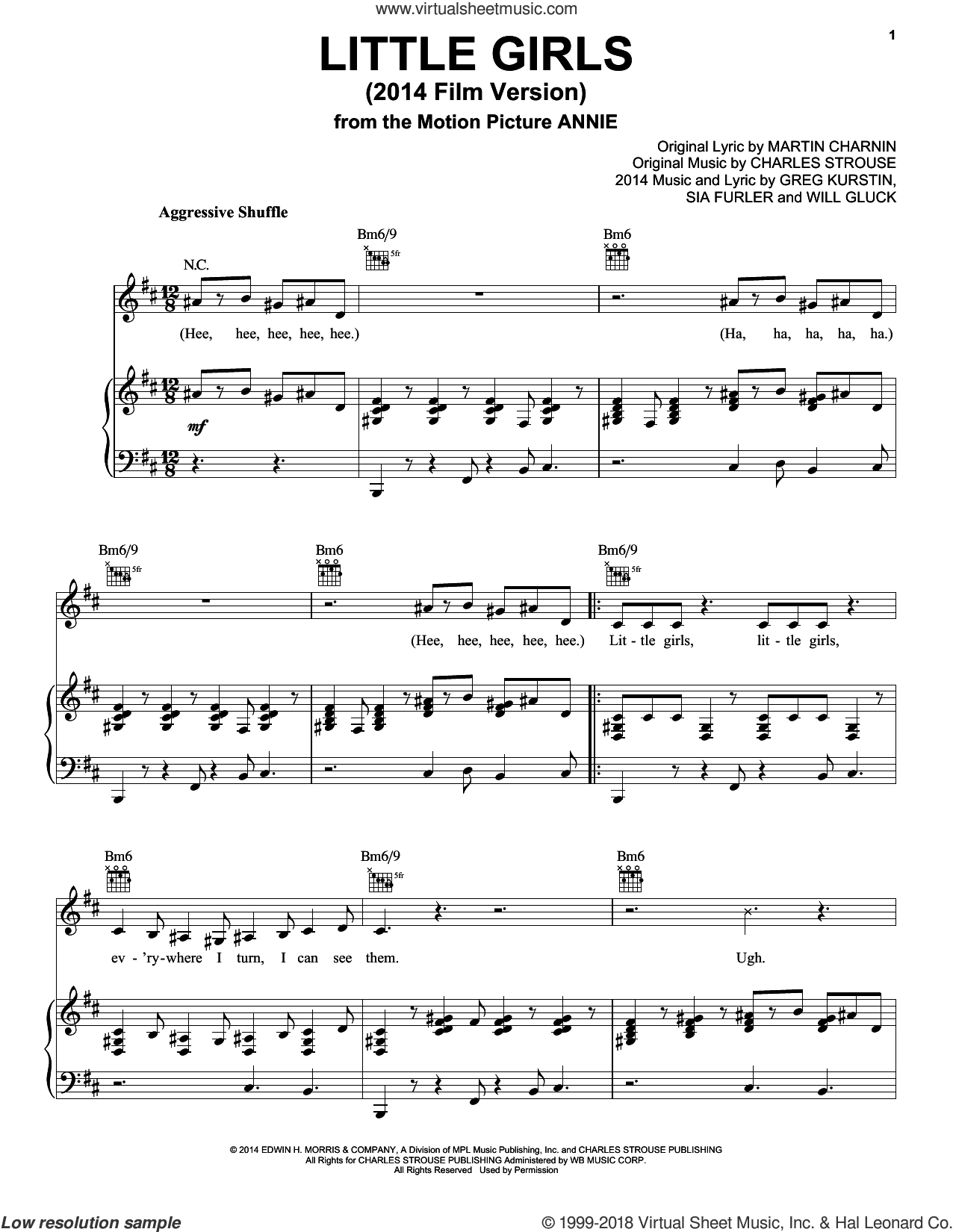 Little Girls (2014 Film Version) sheet music for voice, piano or guitar by Charles Strouse, Christoph Willibald Gluck, Greg Kurstin, Martin Charnin and Sia Furler, intermediate skill level