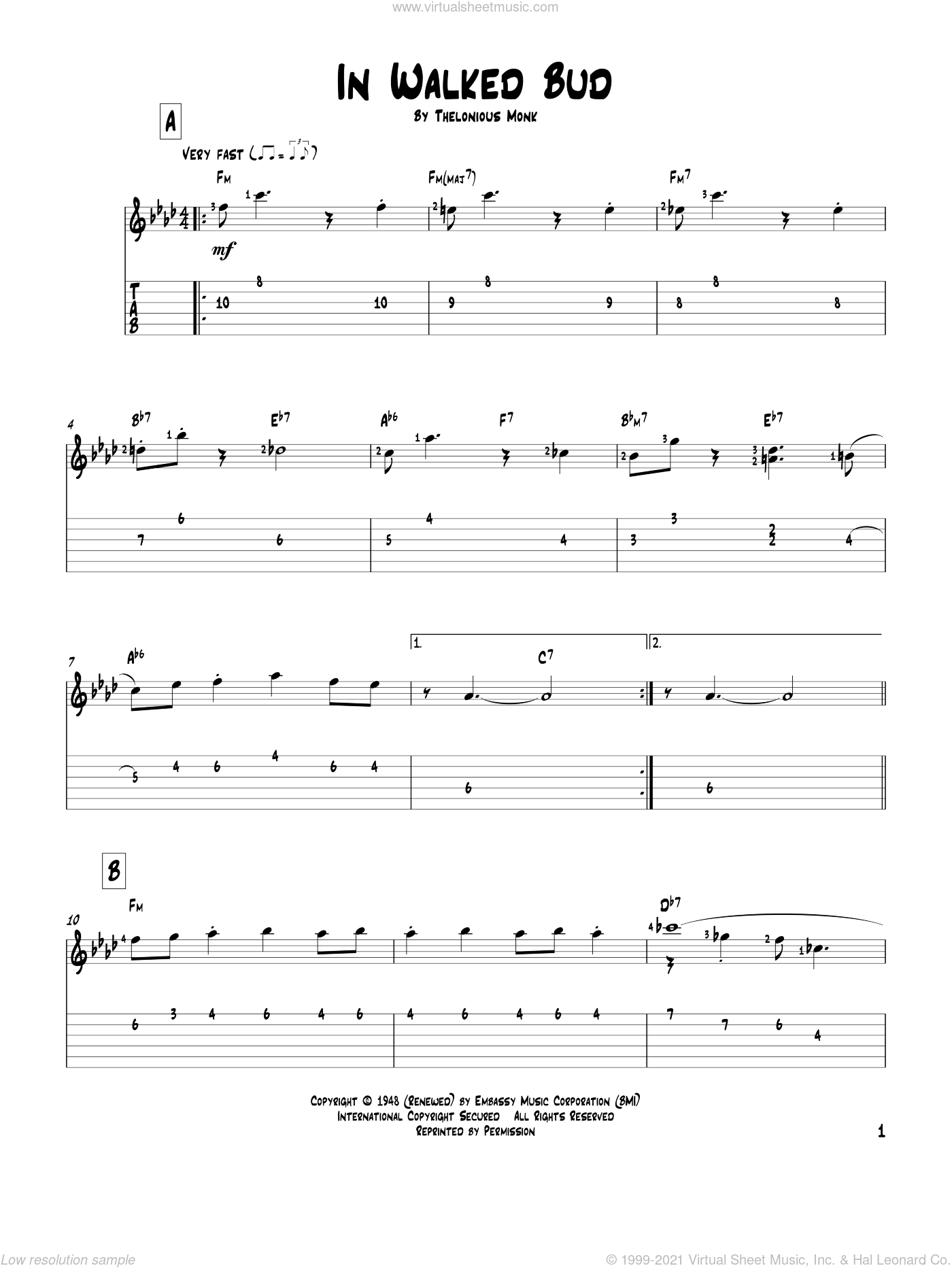 In Walked Bud sheet music for guitar solo by Thelonious Monk. Score Image Preview.