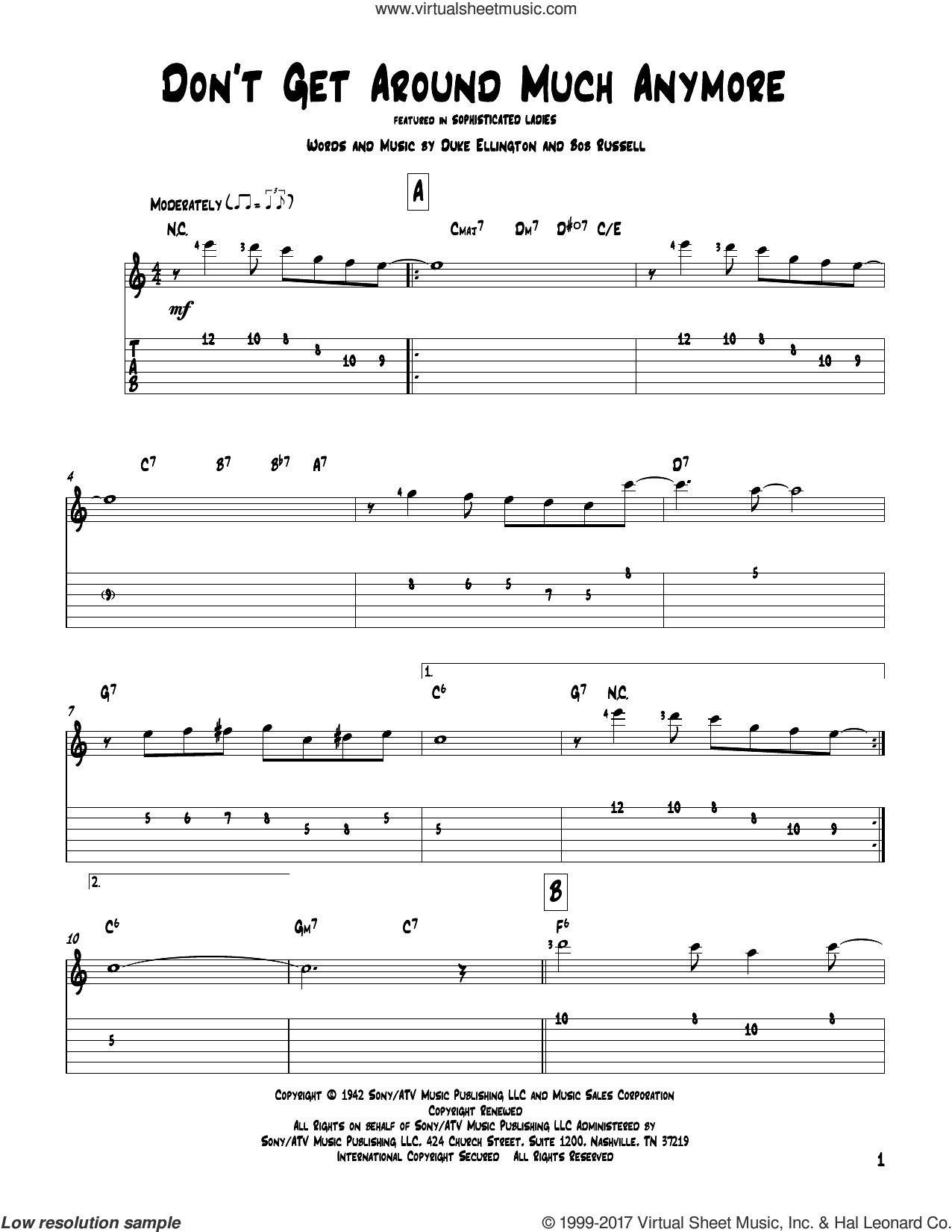 Don't Get Around Much Anymore sheet music for guitar solo by Duke Ellington and Bob Russell, intermediate skill level