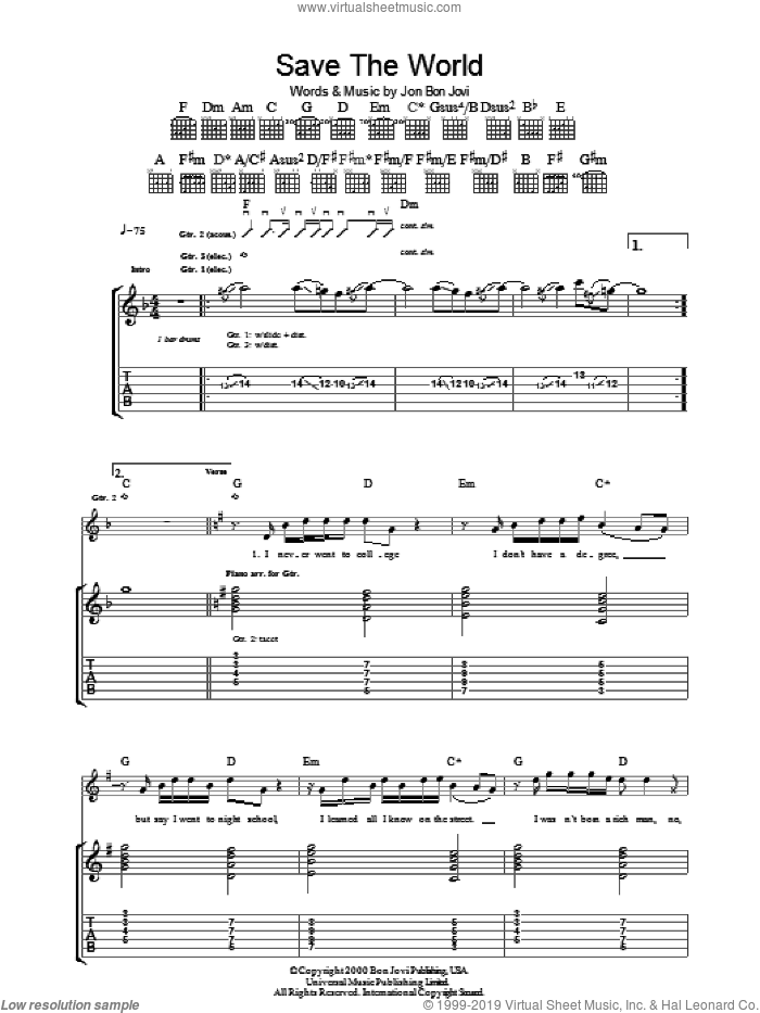 Save The World sheet music for guitar (tablature) by Bon Jovi, intermediate skill level