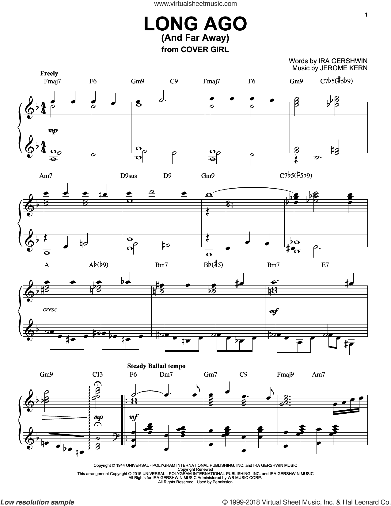 Long Ago (And Far Away), (intermediate) sheet music for piano solo by Jerome Kern and Ira Gershwin, intermediate skill level