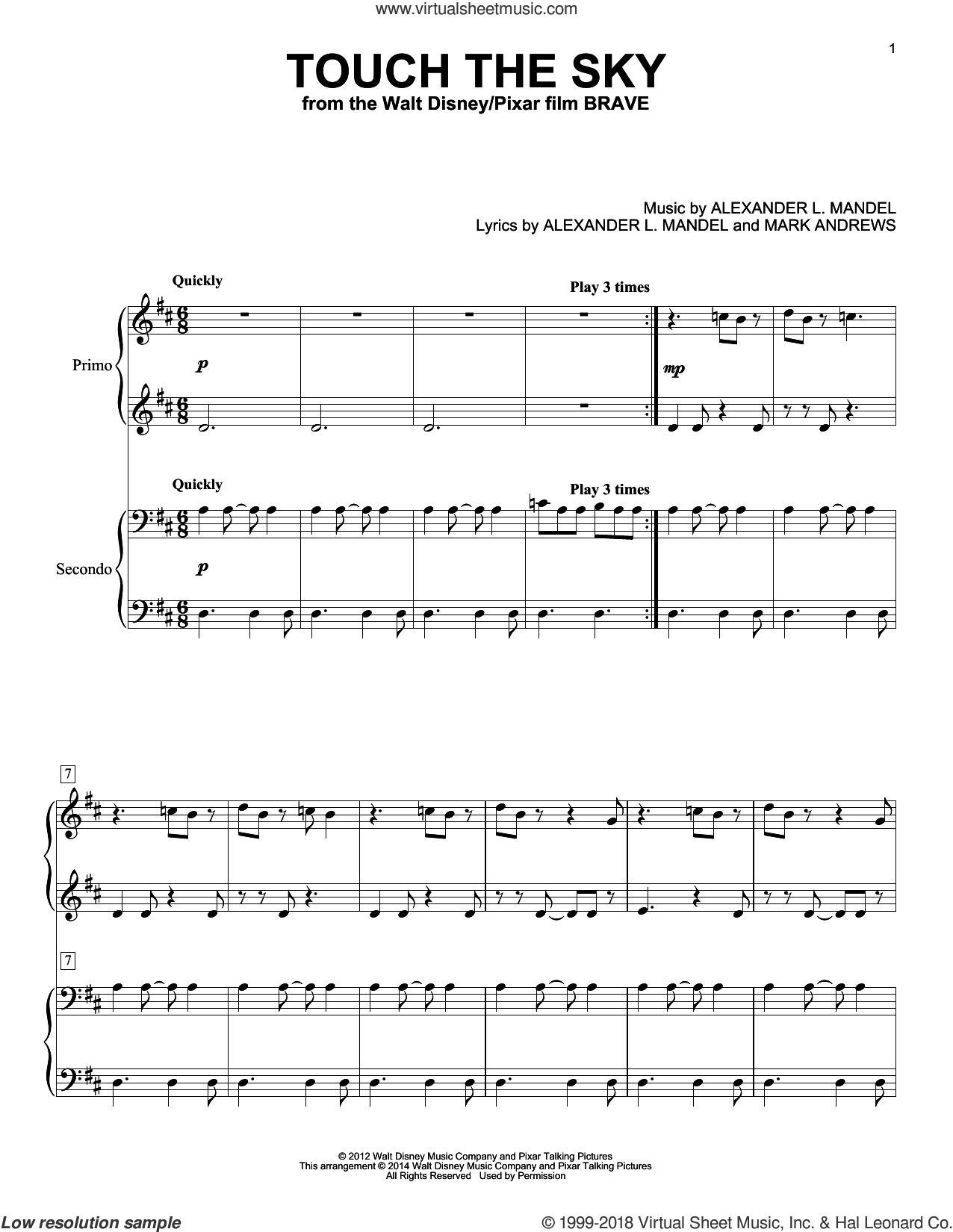 Touch The Sky (From Brave) sheet music for piano four hands by Julie Fowlis, Alexander L. Mandel and Mark Andrews, intermediate skill level