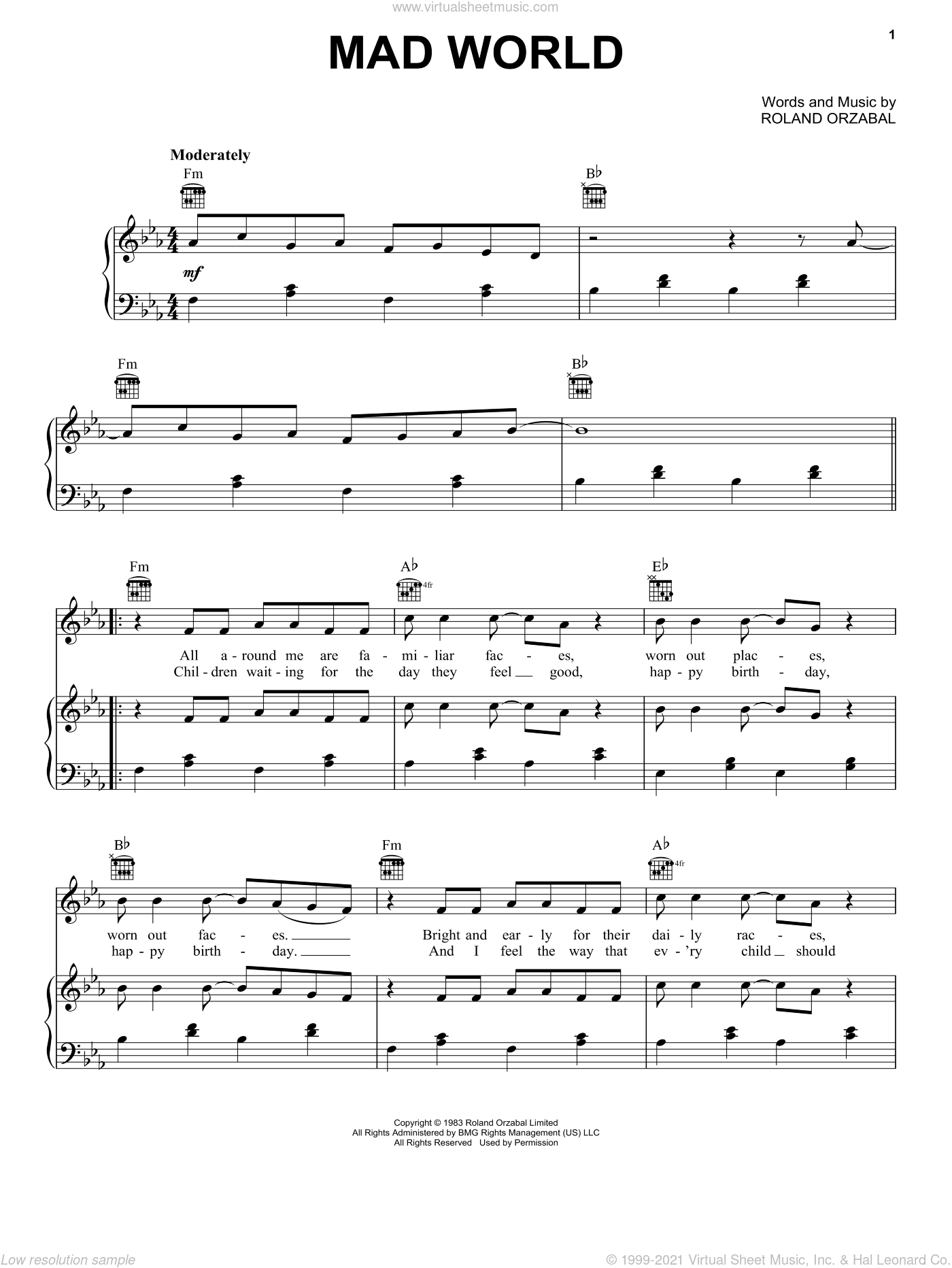 Mad World sheet music for voice, piano or guitar by Adam Lambert and Roland Orzabal, intermediate skill level