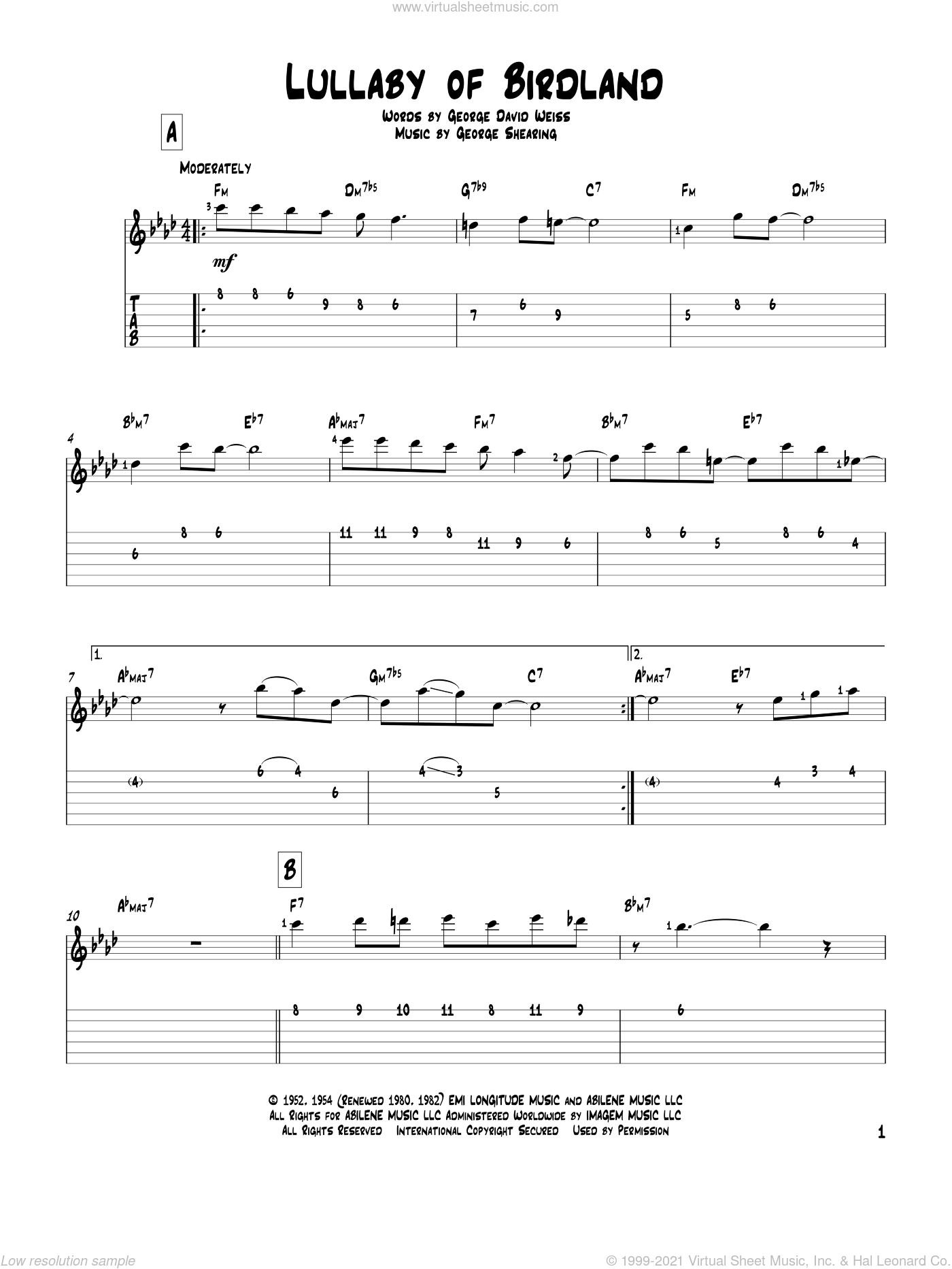 Lullaby Of Birdland sheet music for guitar solo by George David Weiss and George Shearing. Score Image Preview.