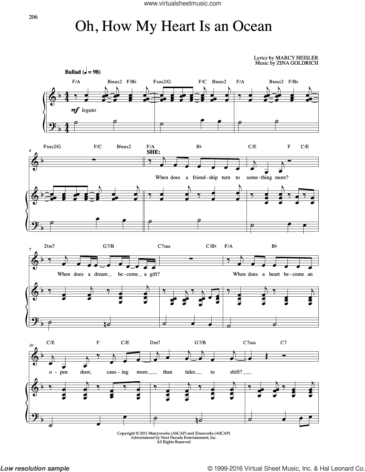 Oh, How My Heart Is An Ocean sheet music for voice and piano by Goldrich & Heisler, Marcy Heisler and Zina Goldrich. Score Image Preview.