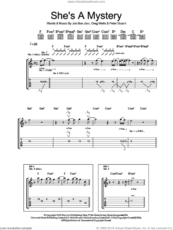 She's A Mystery sheet music for guitar (tablature) by Bon Jovi, Greg Wells and Peter Stuart, intermediate