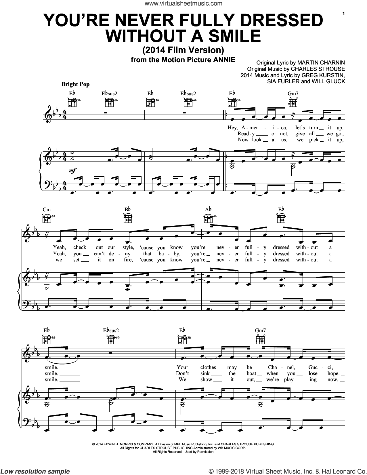 You're Never Fully Dressed Without A Smile (2014 Film Version) sheet music for voice, piano or guitar by Charles Strouse, Christoph Willibald Gluck, Greg Kurstin, Martin Charnin and Sia Furler, intermediate skill level