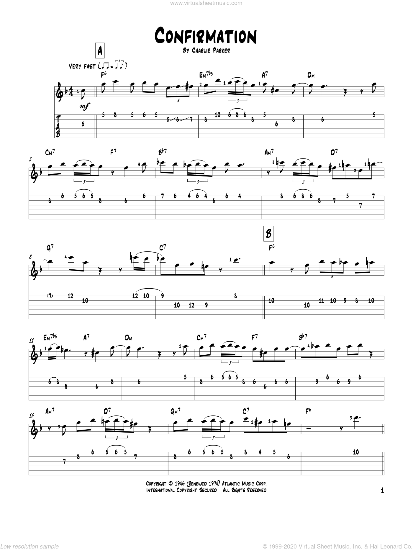 Confirmation sheet music for guitar solo by Charlie Parker. Score Image Preview.