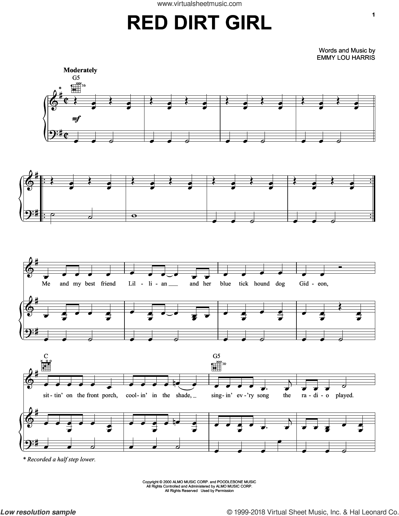 Red Dirt Girl sheet music for voice, piano or guitar by Emmylou Harris. Score Image Preview.
