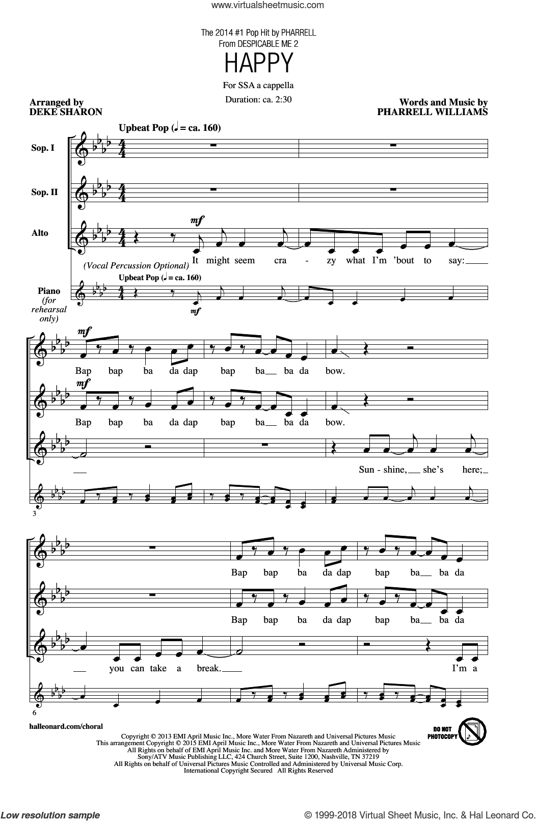 Happy sheet music for choir (soprano voice, alto voice, choir) by Deke Sharon, Pharrell and Pharrell Williams. Score Image Preview.