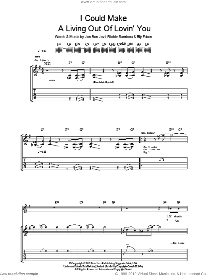 I Could Make A Living Out Of Lovin' You sheet music for guitar (tablature) by Bon Jovi and Richie Sambora, intermediate. Score Image Preview.