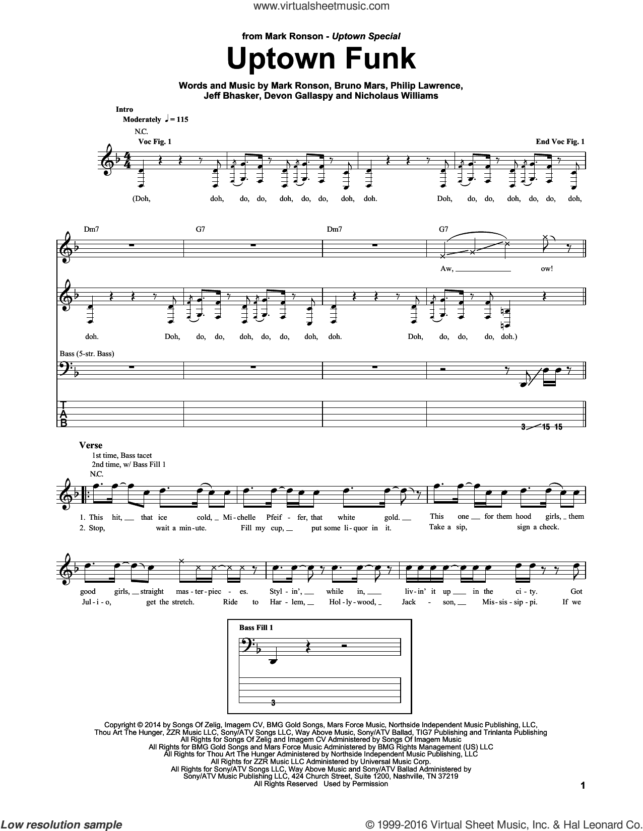 Uptown Funk sheet music for bass (tablature) (bass guitar) by Mark Ronson ft. Bruno Mars, Bruno Mars, Devon Gallaspy, Jeff Bhasker, Mark Ronson and Philip Lawrence. Score Image Preview.