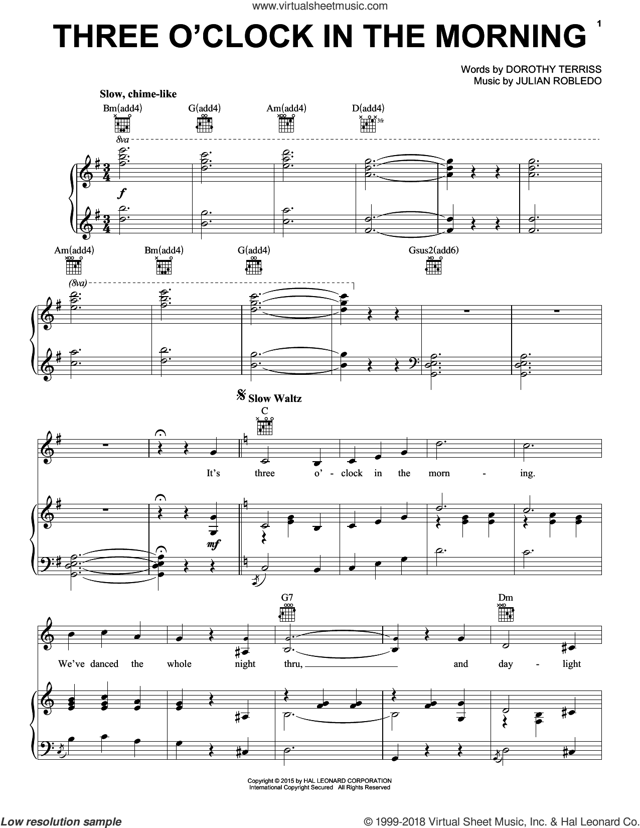 Three O'Clock In The Morning sheet music for voice, piano or guitar by Julian Robledo and Dorothy Terriss. Score Image Preview.