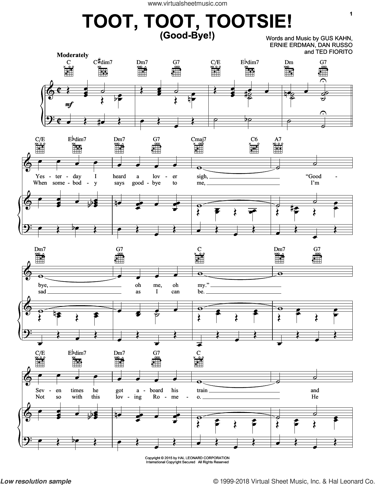 Toot, Toot, Tootsie! (Good-bye!) sheet music for voice, piano or guitar by Gus Kahn, Dan Russo, Ernie Erdman and Ted Fiorito, intermediate skill level