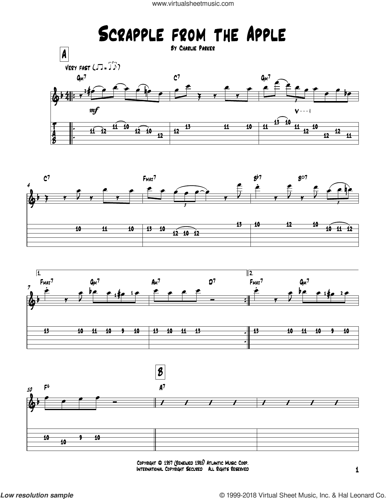 Parker Scrapple From The Apple Sheet Music For Guitar Solo