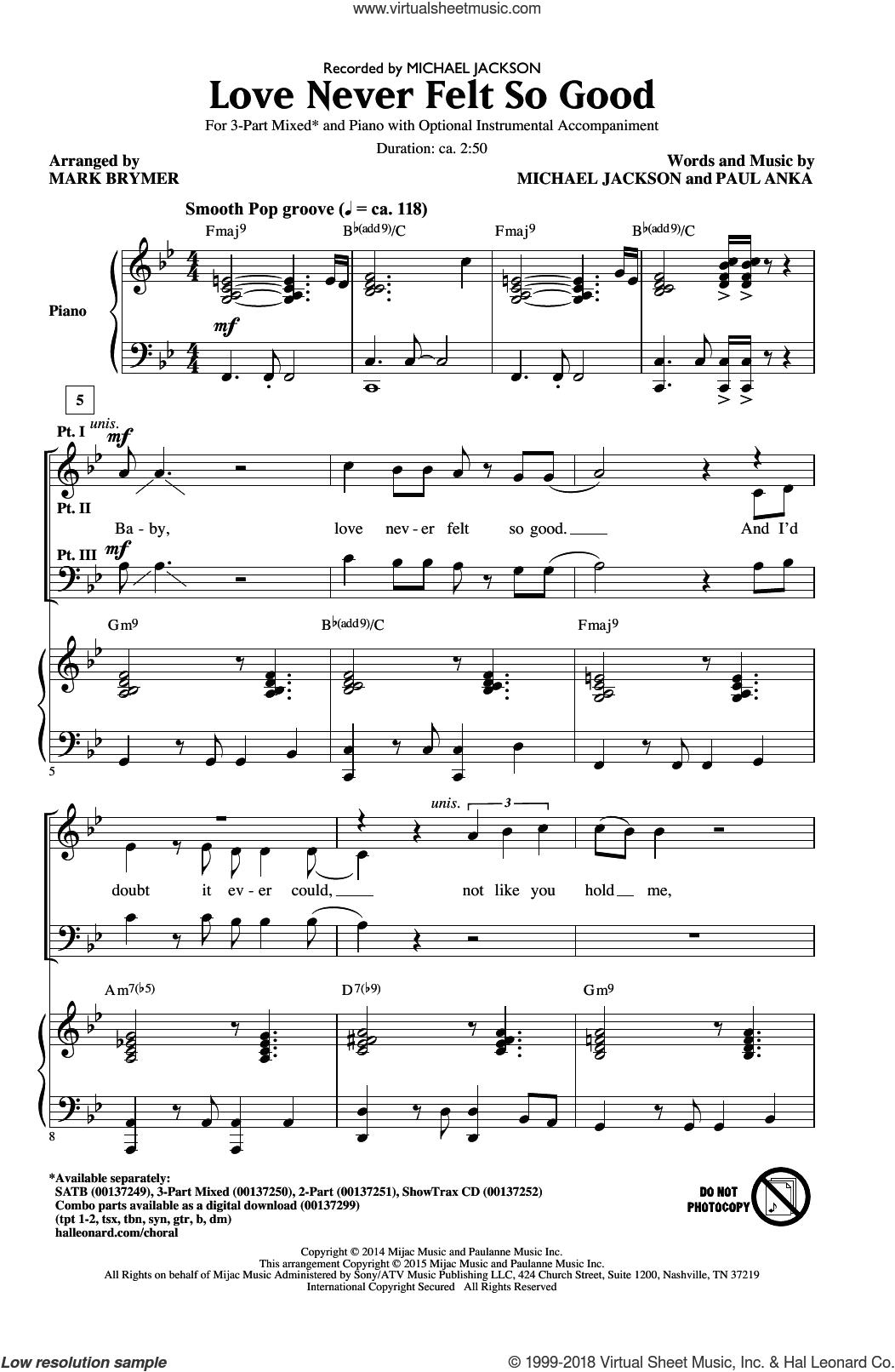 Love Never Felt So Good sheet music for choir (3-Part Mixed) by Michael Jackson, Mark Brymer, Michael Jackson & Justin Timberlake and Paul Anka, intermediate skill level