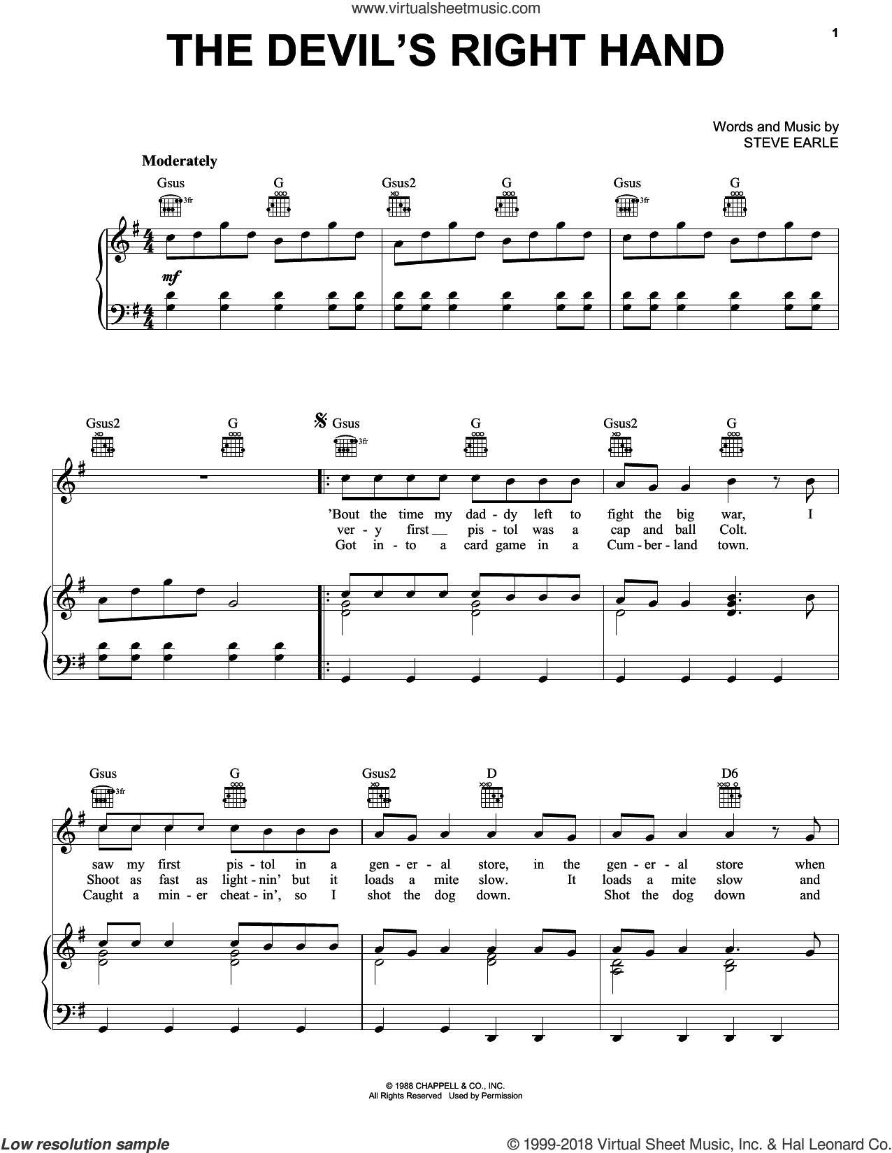 The Devil's Right Hand sheet music for voice, piano or guitar by Bob Seger and Steve Earle, intermediate skill level