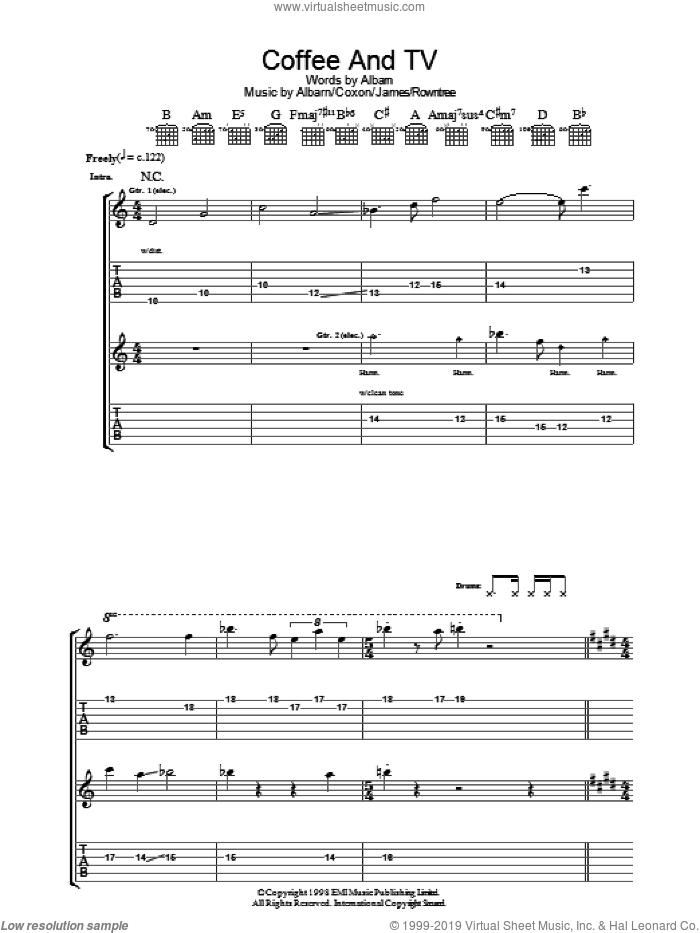 Coffee and TV sheet music for guitar (tablature) by Blur, Alex James and Damon Albarn, intermediate. Score Image Preview.