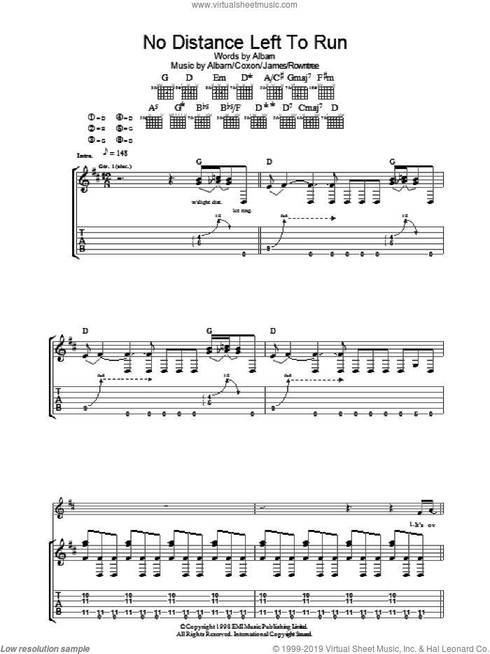 No Distance Left To Run sheet music for guitar (tablature) by Graham Coxon, Blur, Alex James and Damon Albarn. Score Image Preview.