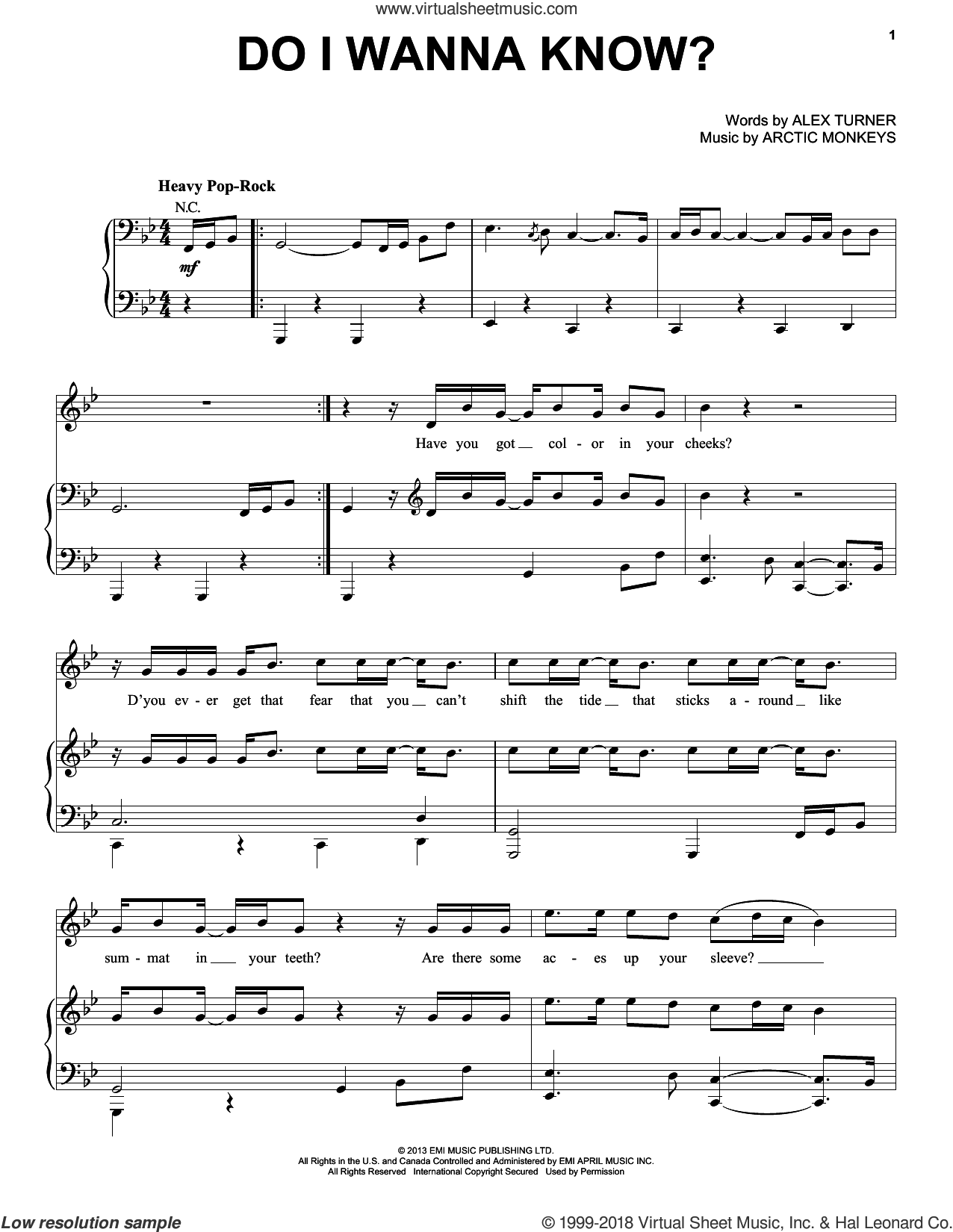 Do I Wanna Know? sheet music for voice, piano or guitar by Arctic Monkeys and Alex Turner, intermediate skill level