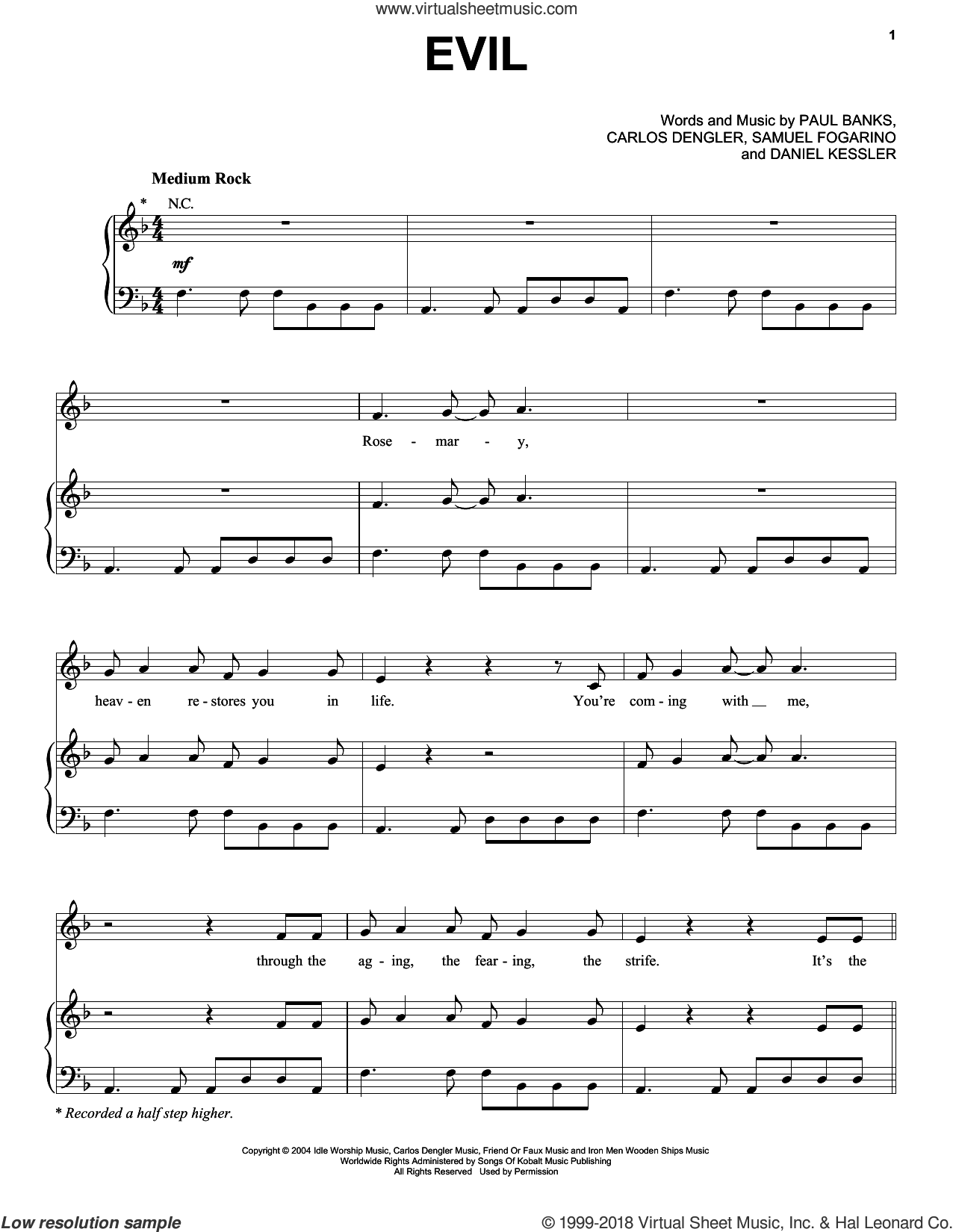 Evil sheet music for voice, piano or guitar by Interpol. Score Image Preview.