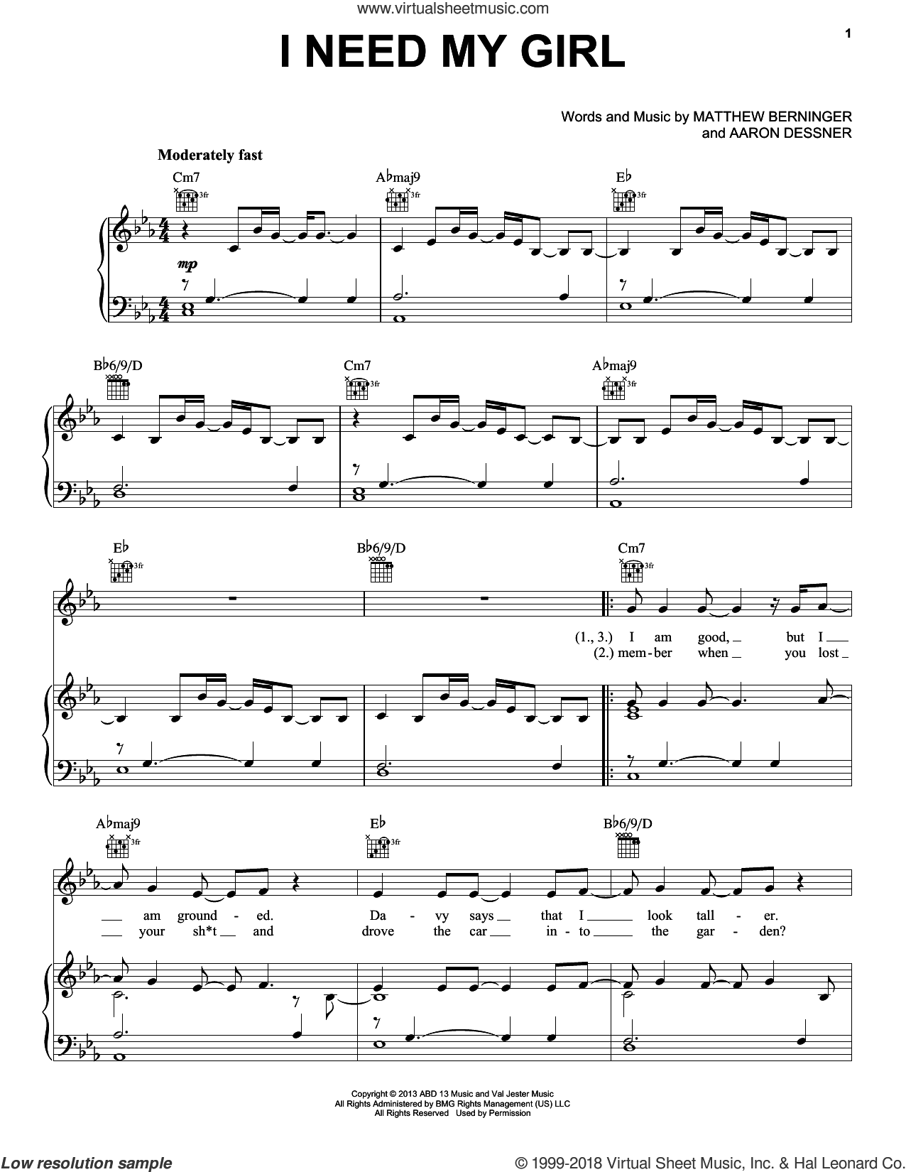 I Need My Girl sheet music for voice, piano or guitar by The National, Aaron Dessner and Matthew Berninger, intermediate skill level