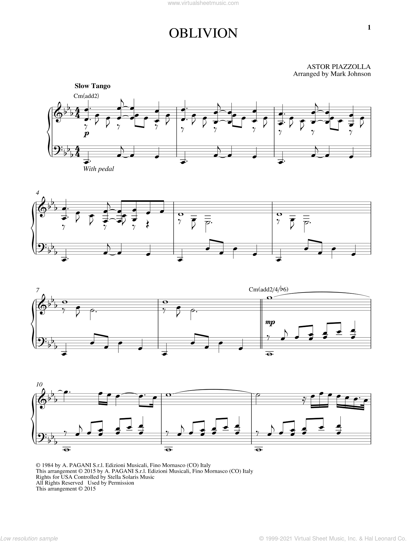Oblivion sheet music for piano solo by Astor Piazzolla, classical score, intermediate skill level