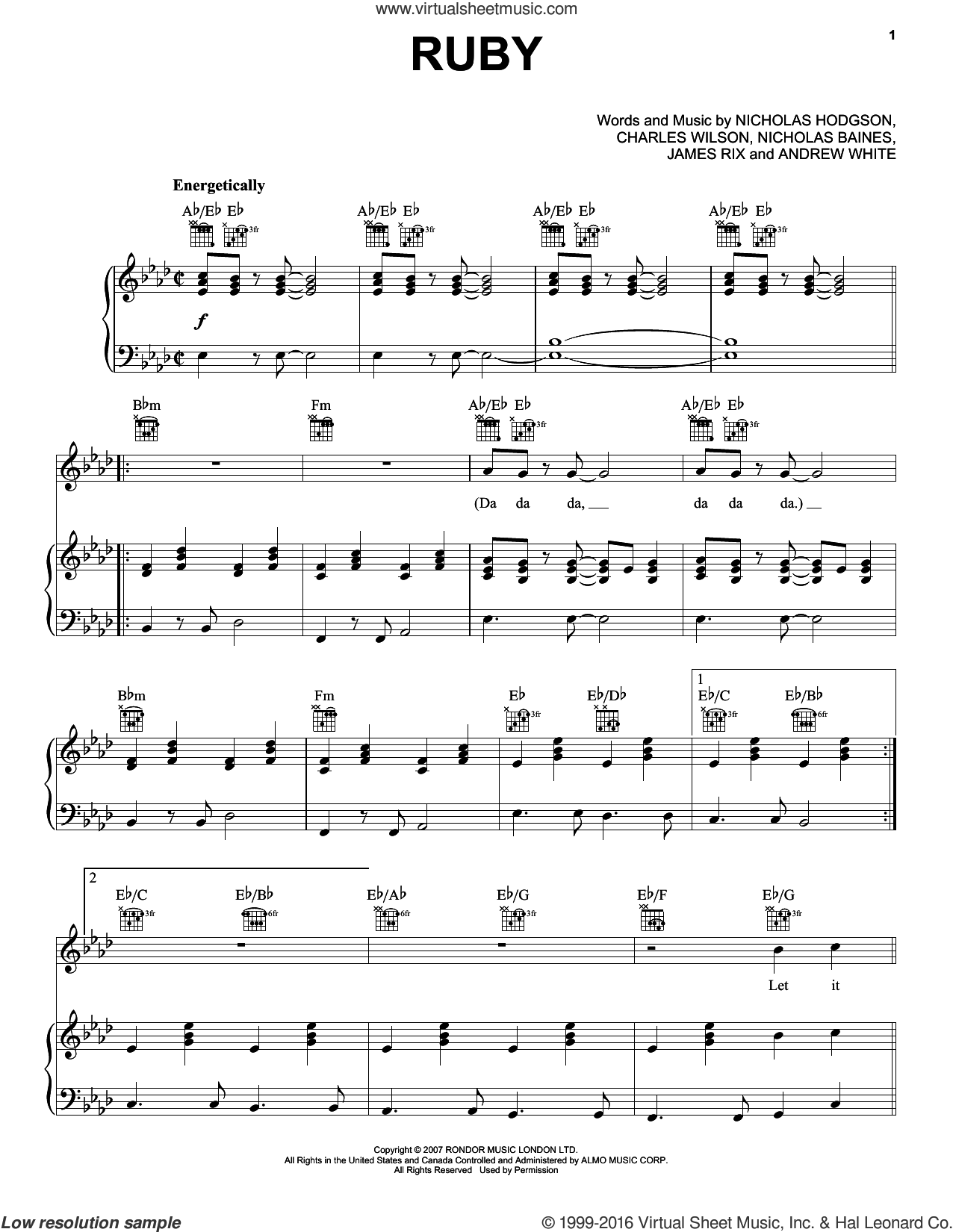 Ruby sheet music for voice, piano or guitar by Nicholas Hodgson and Andrew White. Score Image Preview.