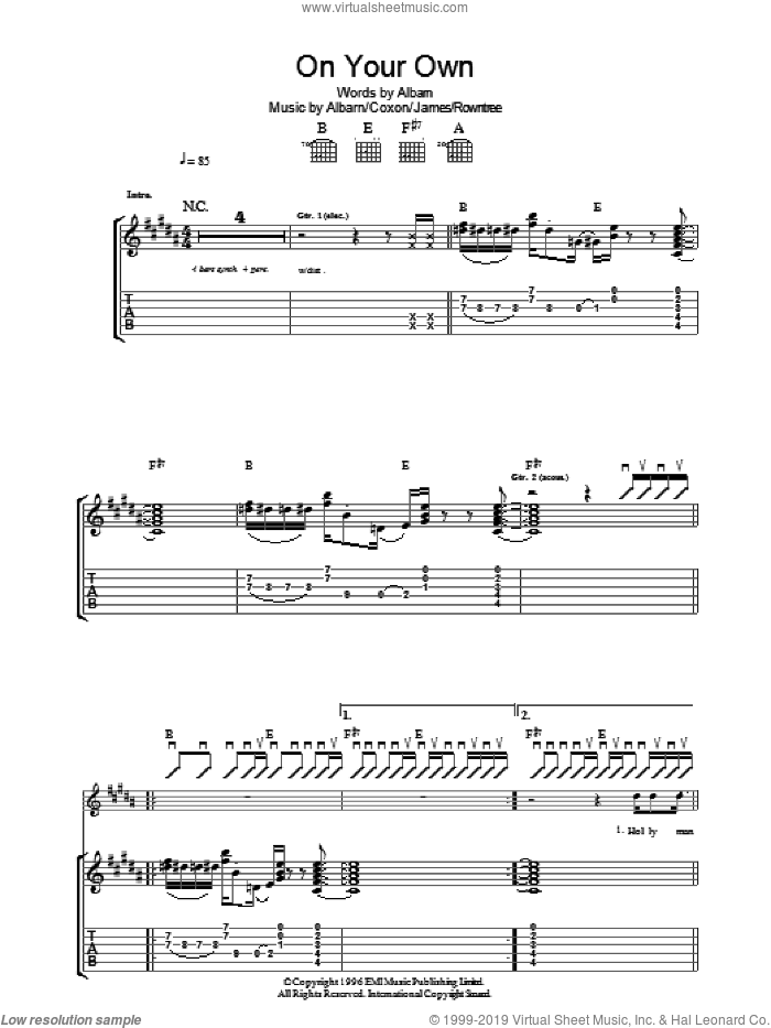 On Your Own sheet music for guitar (tablature) by Blur, Alex James and Damon Albarn, intermediate