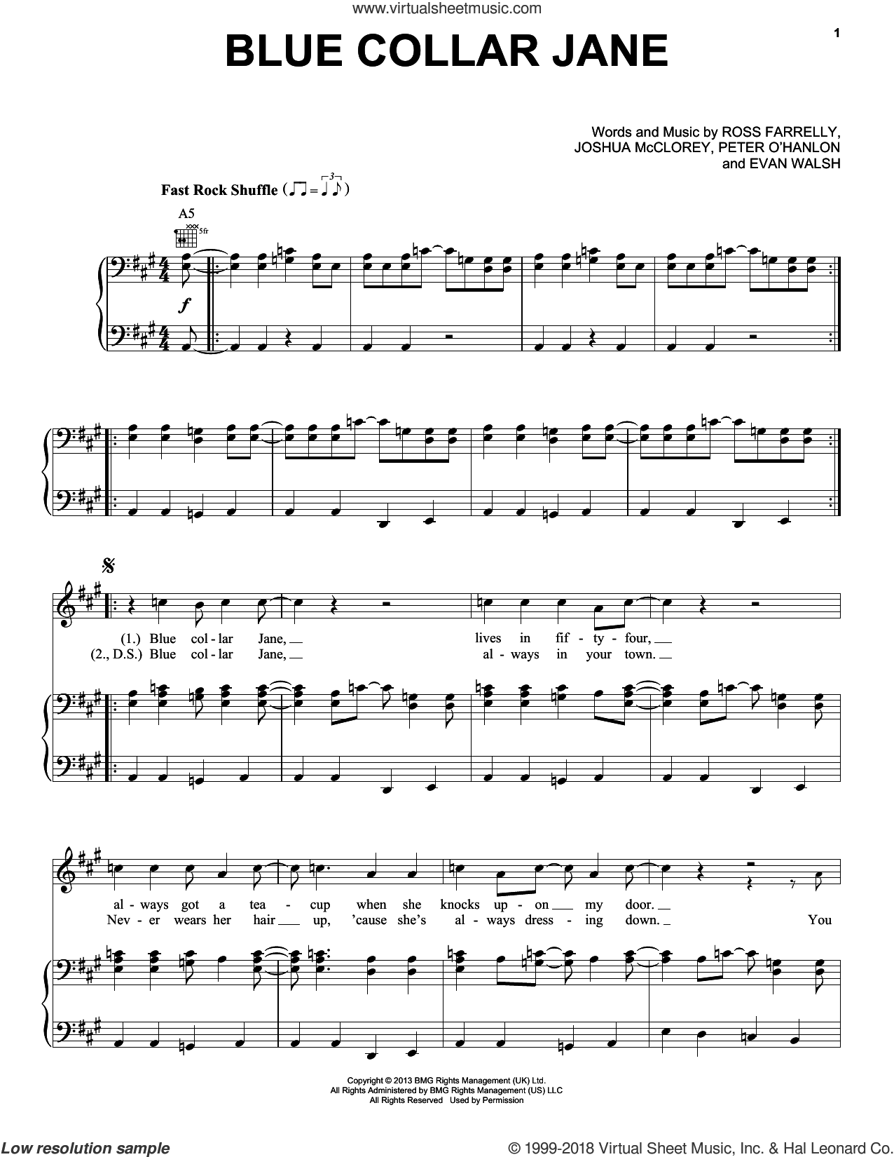 Blue Collar Jane sheet music for voice, piano or guitar by Ross Farrelly. Score Image Preview.