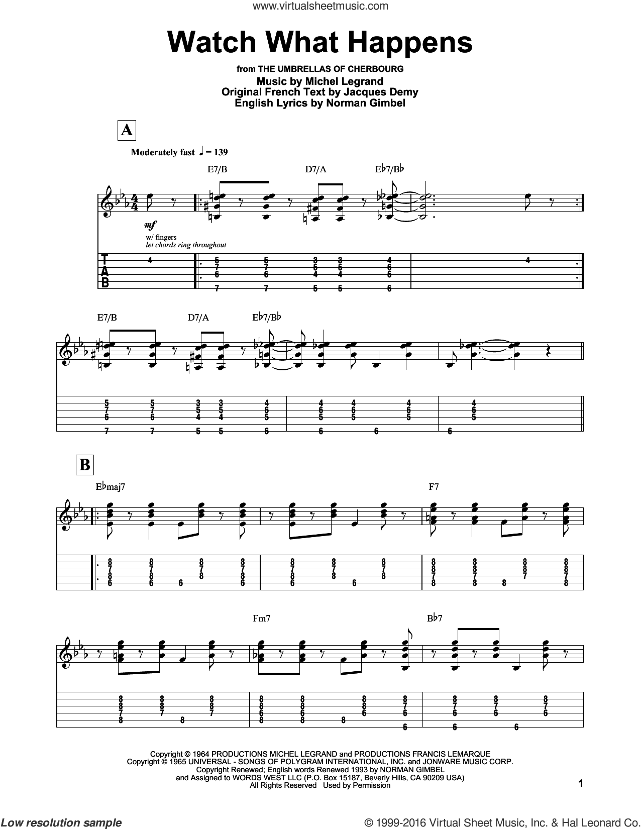 Watch What Happens sheet music for guitar (tablature, play-along) by Norman Gimbel and Michel LeGrand, intermediate. Score Image Preview.