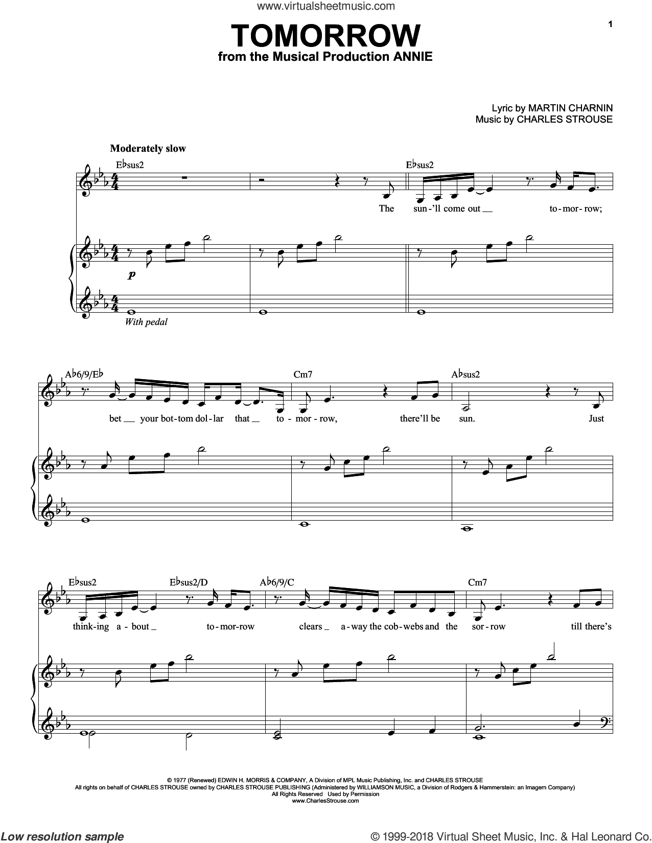 Tomorrow sheet music for voice and piano by Charles Strouse and Martin Charnin, intermediate skill level