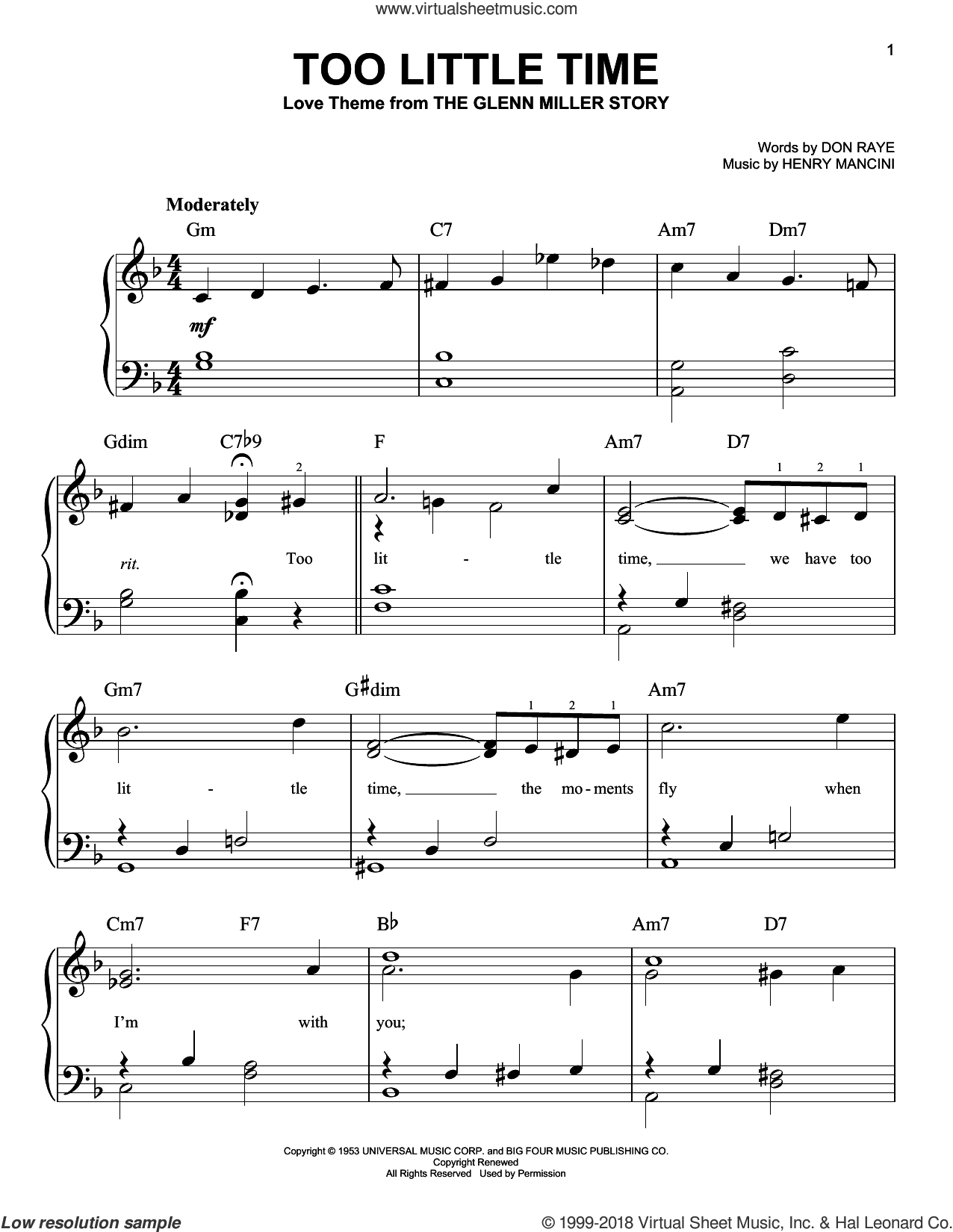 Too Little Time sheet music for piano solo by Henry Mancini and Don Raye, easy piano. Score Image Preview.