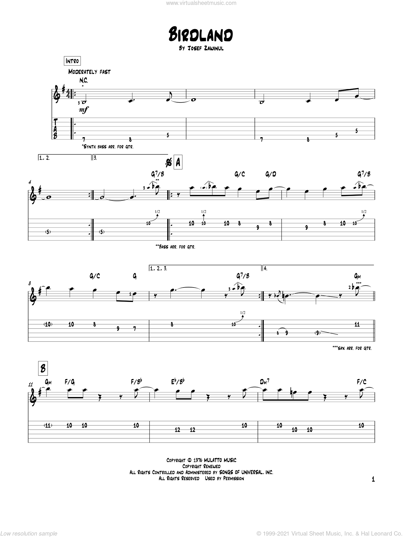 Birdland sheet music for guitar solo by Josef Zawinul, Manhattan Transfer and Jon Hendricks. Score Image Preview.