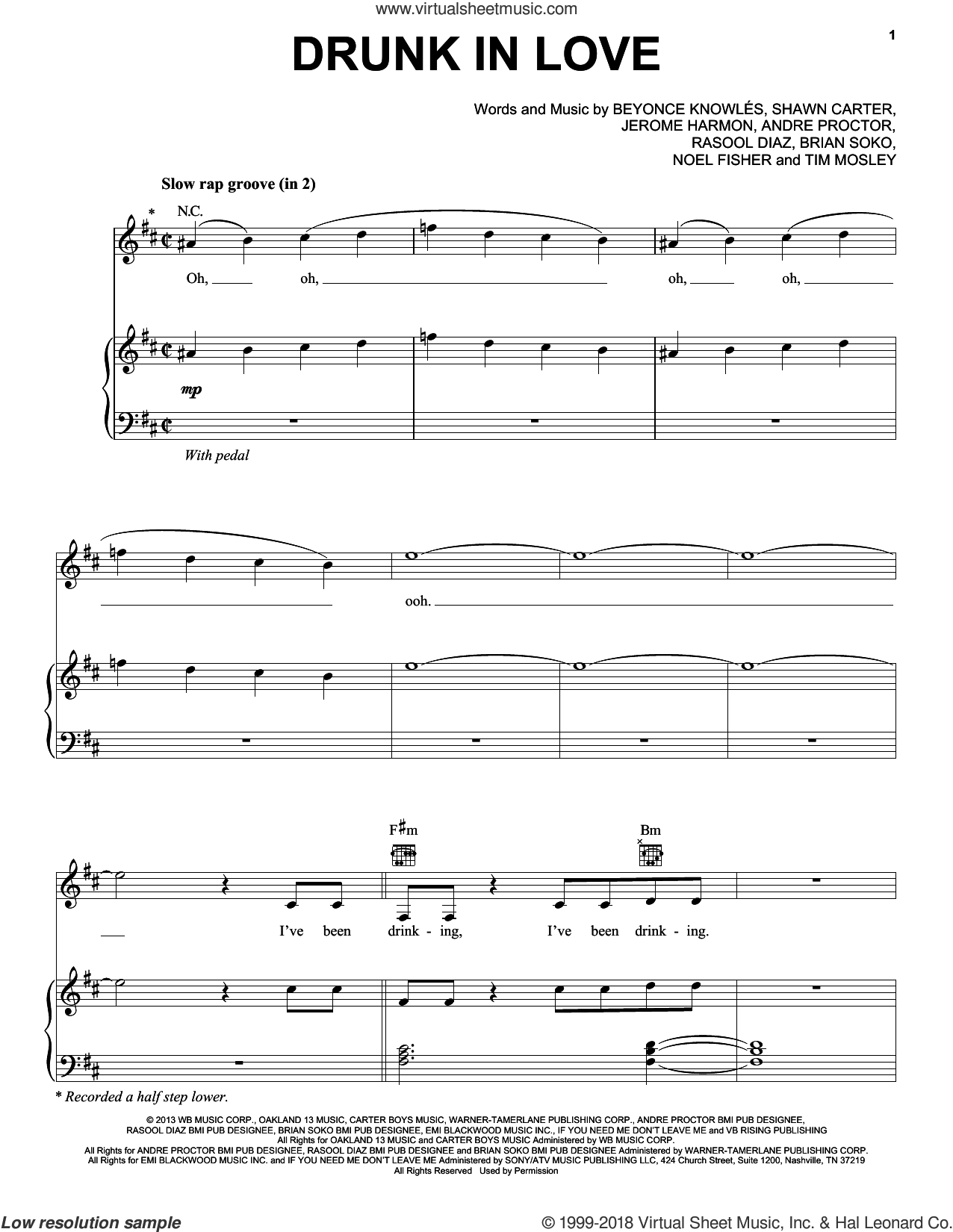 Drunk In Love sheet music for voice, piano or guitar by Beyonce Featuring Jay Z, BeyoncA�A�, Beyonce, Beyonce Knowles, Jerome Harmon, Noel Fisher, Shawn Carter and Tim Mosley. Score Image Preview.
