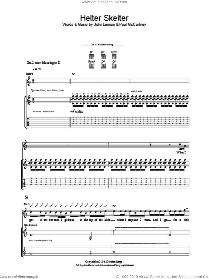 Helter Skelter sheet music for guitar (tablature) by Paul McCartney