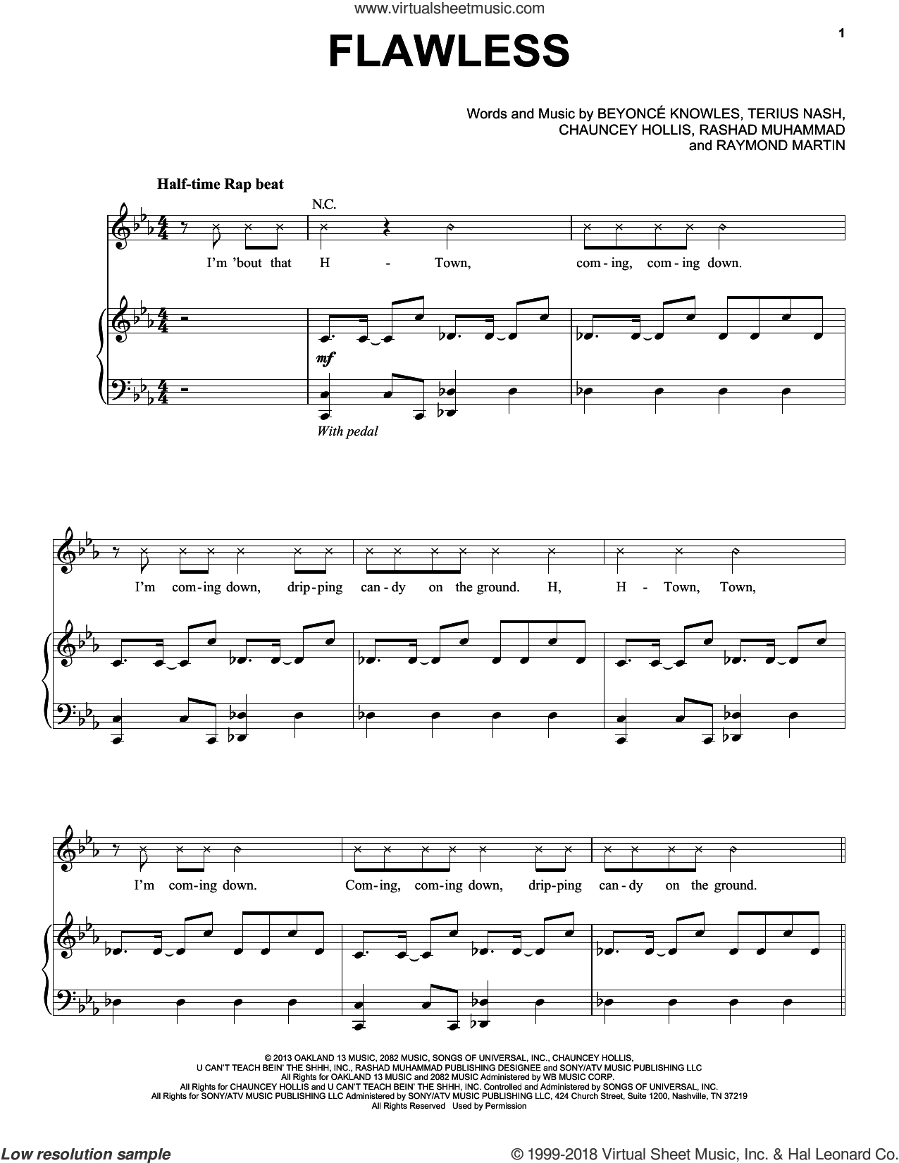 Flawless sheet music for voice, piano or guitar by Beyonce, Beyonce Knowles, Chauncey Hollis, Rashad Muhammad, Raymond Martin and Terius Nash, intermediate skill level
