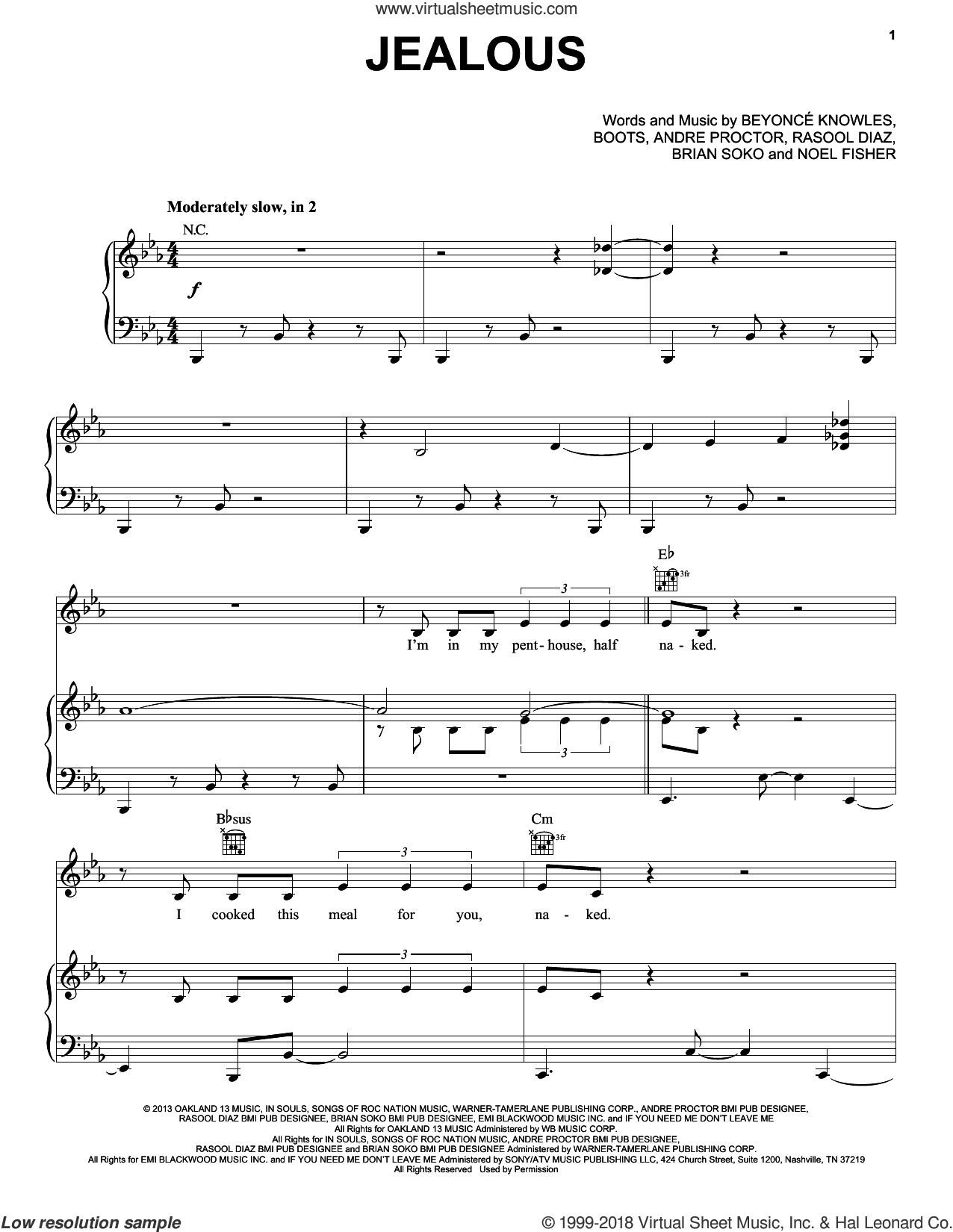 Jealous sheet music for voice, piano or guitar by Rasool Diaz, Beyonce, Beyonce Knowles and Noel Fisher. Score Image Preview.