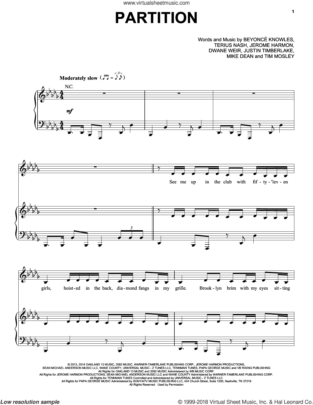 Partition sheet music for voice, piano or guitar by Beyonce, Beyonce Knowles, Dwane Weir, Jermone Harmon, Justin Timberlake, Mike Dean, Terius Nash and Tim Mosley, intermediate skill level