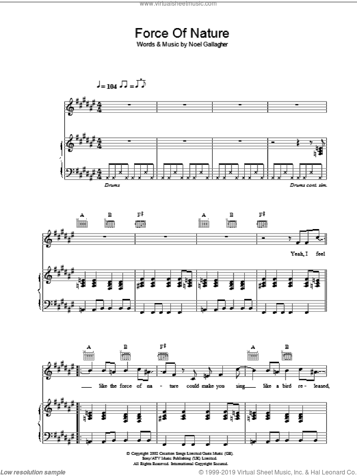 Force Of Nature sheet music for voice, piano or guitar by Oasis and Noel Gallagher, intermediate voice, piano or guitar. Score Image Preview.