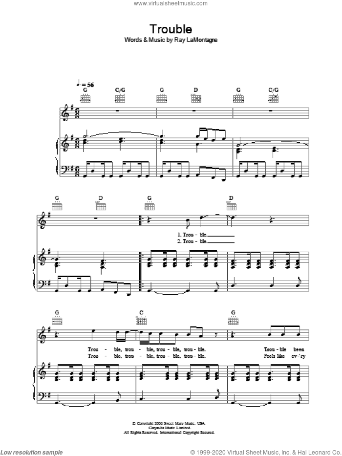 Trouble sheet music for voice, piano or guitar by Ray LaMontagne. Score Image Preview.