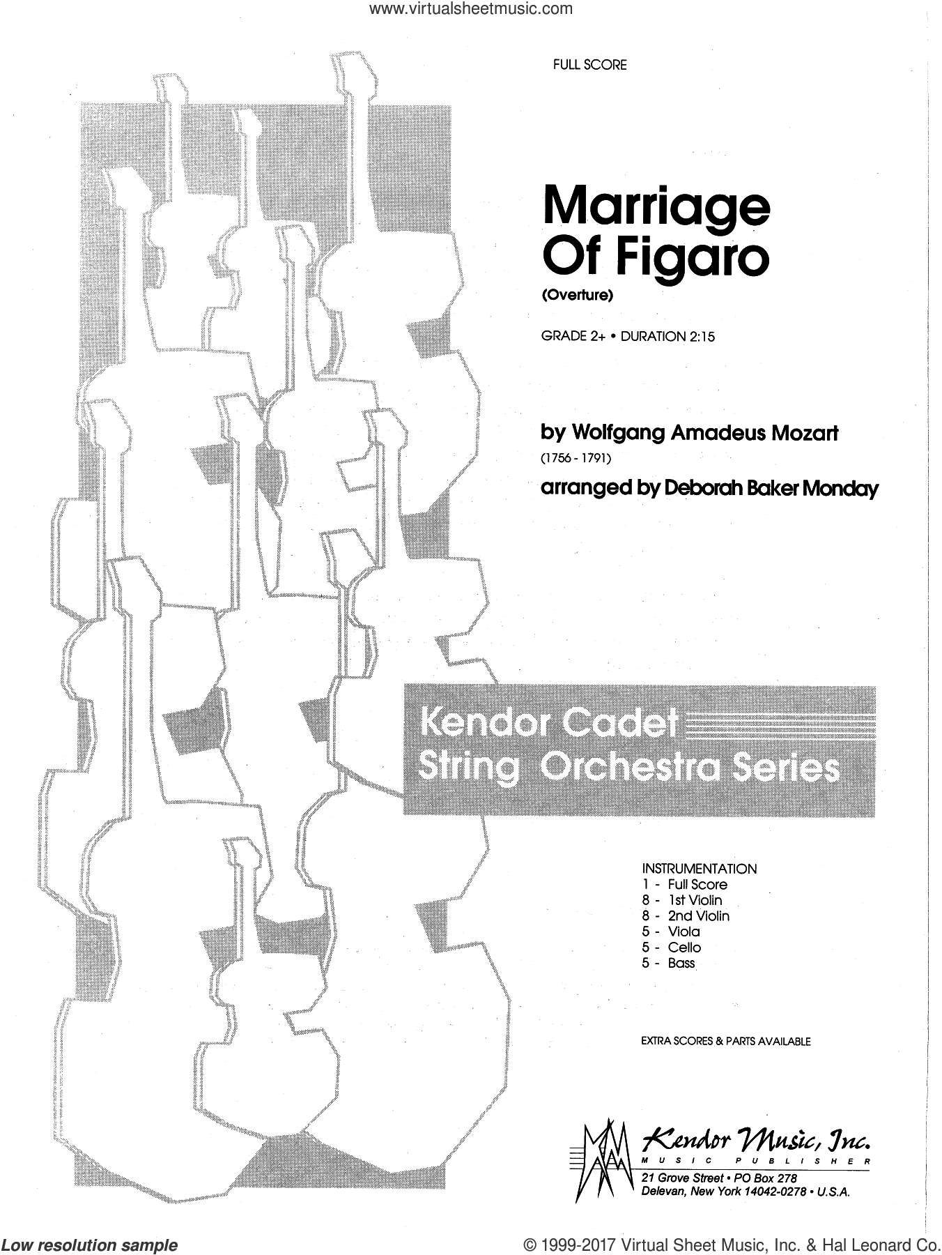 Marriage Of Figaro (Overture) (COMPLETE) sheet music for orchestra by Wolfgang Amadeus Mozart and Deborah Baker Monday, classical score, intermediate skill level